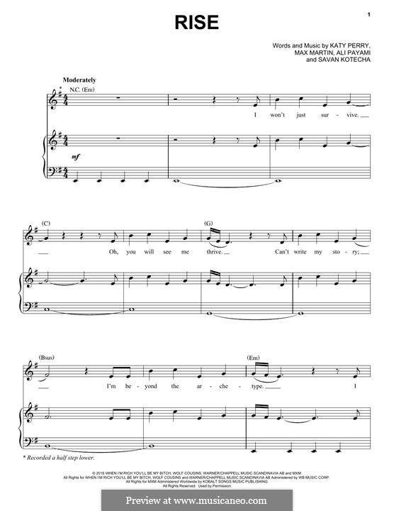 Rise: Para vocais e piano (ou Guitarra) by Katy Perry, Max Martin, Savan Kotecha, Ali Payami