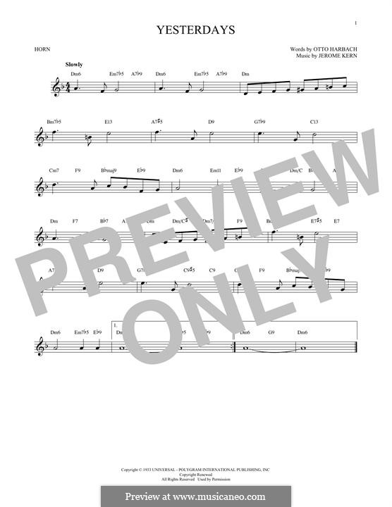 Yesterdays: For horn by Jerome Kern