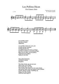 Los Pollitos Dicen: For guitar solo (C Major) by folklore