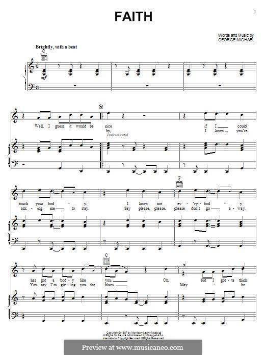 Faith: Para vocais e piano (ou Guitarra) by George Michael