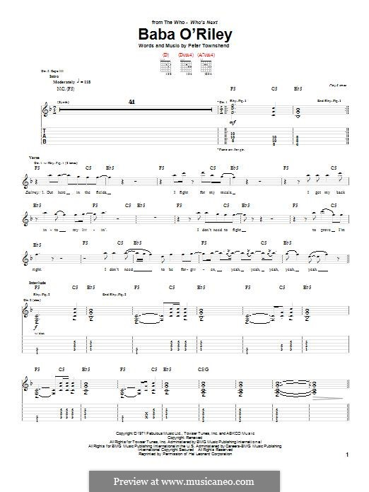 Baba O'Reilly (from Summer of Sam): For guitar with tab (The Who) by Peter Townshend