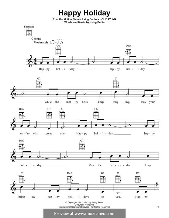 Happy Holiday: para ukulele by Irving Berlin