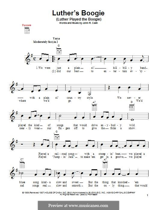 Luther's Boogie (Luther Played the Boogie): para ukulele by Johnny Cash