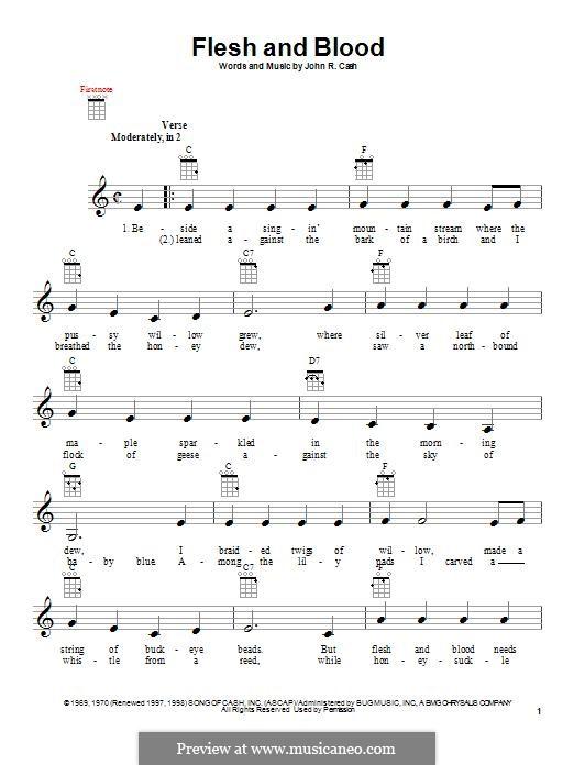 Flesh and Blood: para ukulele by Johnny Cash