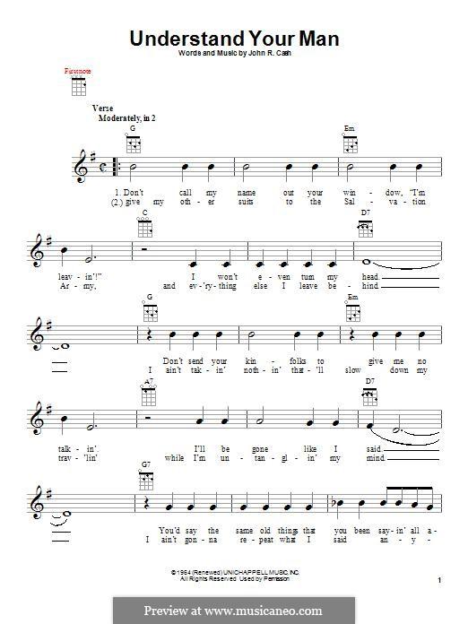 Understand Your Man: para ukulele by Johnny Cash