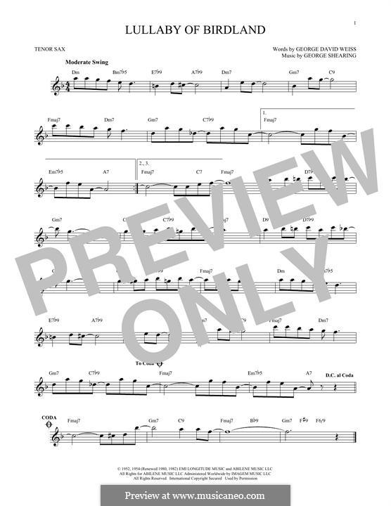 Lullaby of Birdland (Ella  Fitzgerald): para saxofone tenor by George Shearing