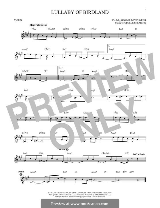 Lullaby of Birdland (Ella  Fitzgerald): para violino by George Shearing