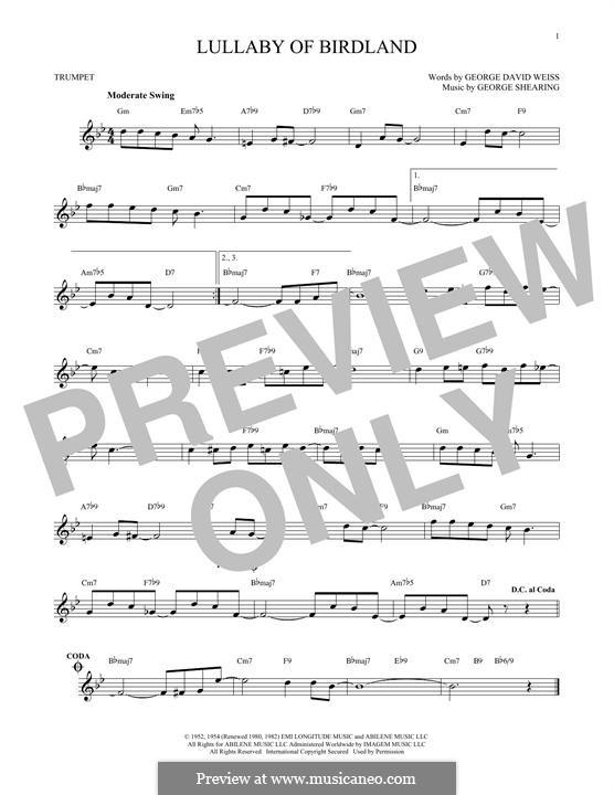 Lullaby of Birdland (Ella  Fitzgerald): para trompeta by George Shearing