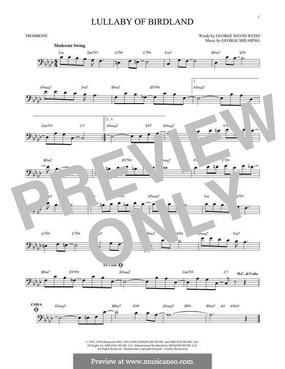 Lullaby of Birdland (Ella  Fitzgerald): para trombone by George Shearing