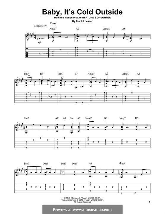 Baby, it's Cold Outside: Para guitarra com guia by Frank Loesser