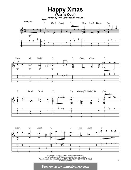 Happy Xmas (War Is Over): Para guitarra com guia by John Lennon, Yoko Ono