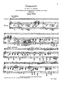 Cello Concerto in A Minor, Op.130a: Score by August Nölck