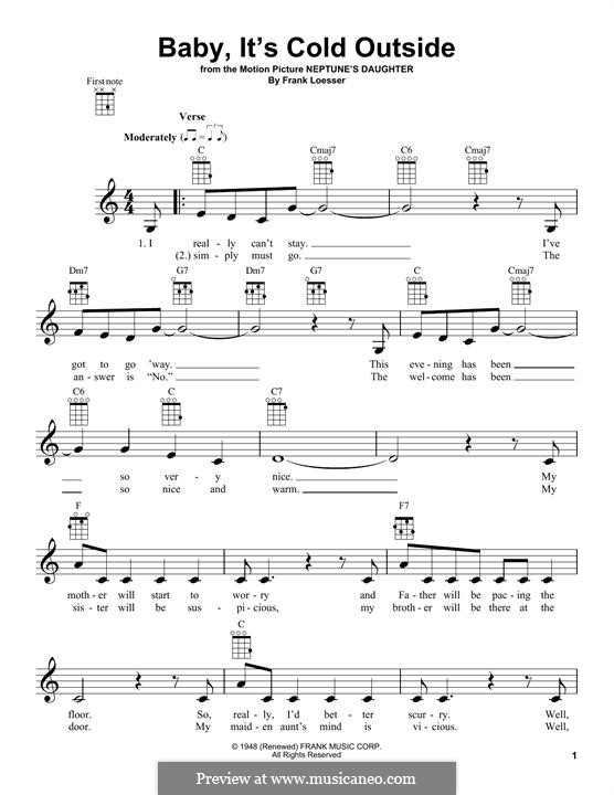 Baby, it's Cold Outside: para ukulele by Frank Loesser