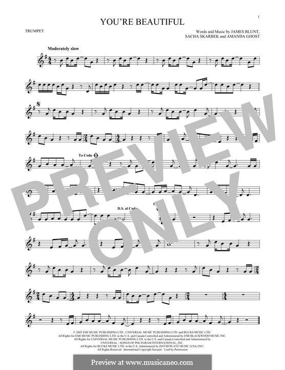 You're Beautiful: para trompeta by Amanda Ghost, James Blunt, Sacha Skarbek