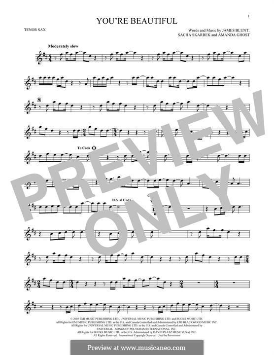 You're Beautiful: para saxofone tenor by Amanda Ghost, James Blunt, Sacha Skarbek