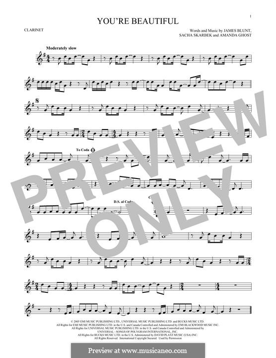 You're Beautiful: para clarinete by Amanda Ghost, James Blunt, Sacha Skarbek