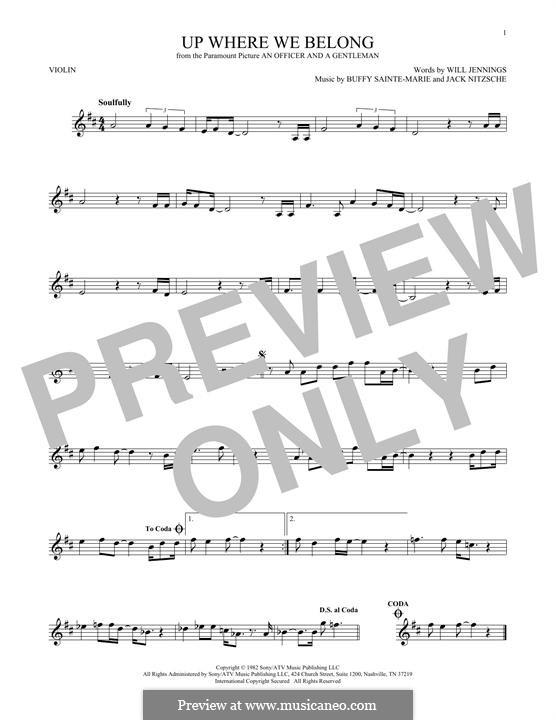 Up Where We Belong (Joe Cocker and Jennifer Warnes): para violino by Buffy Sainte-Marie, Jack Nitzsche, Will Jennings