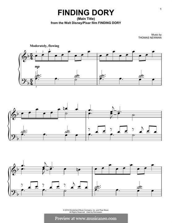 Finding Dory (Main Title): Para Piano by Thomas Newman