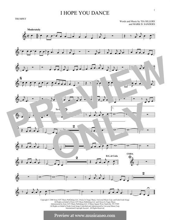 I Hope You Dance (Lee Ann Womack): para trompeta by Mark D. Sanders, Tia Sillers