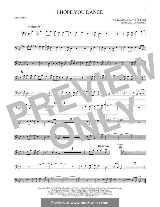 I Hope You Dance (Lee Ann Womack): para trombone by Mark D. Sanders, Tia Sillers