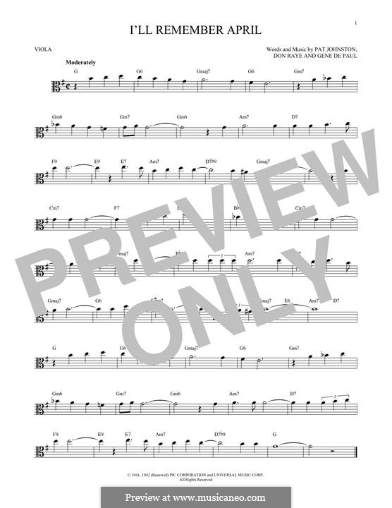 I'll Remember April (Woody Herman): para viola by Don Raye, Gene de Paul, Patricia Johnson