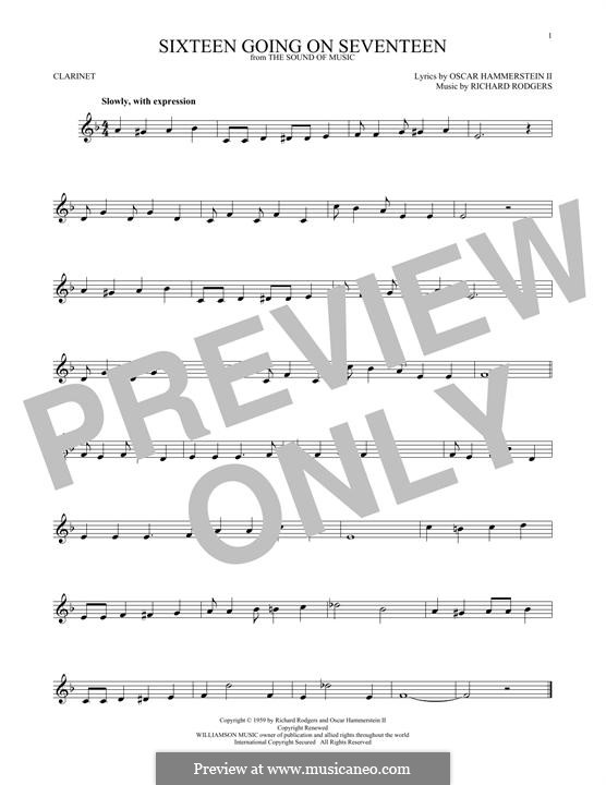 Sixteen Going on Seventeen (from The Sound of Music): para clarinete by Richard Rodgers