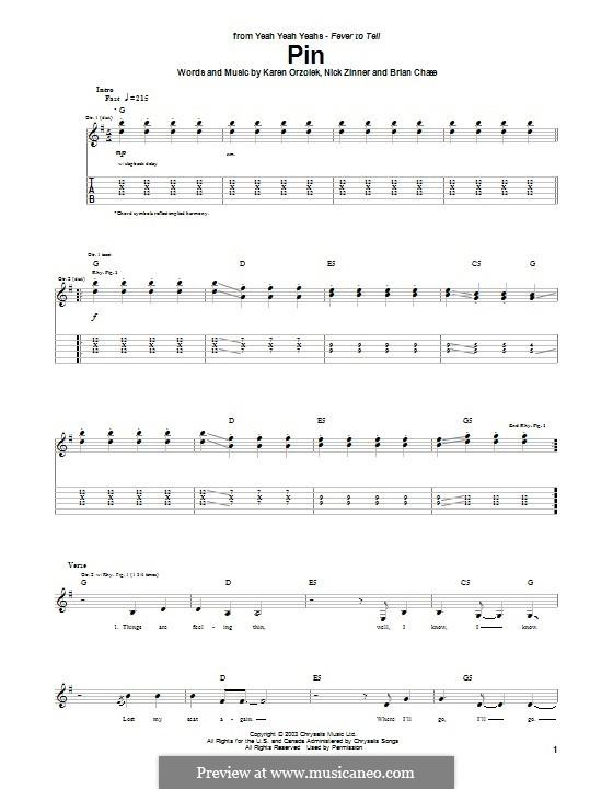 Pin (Yeah Yeah Yeahs): Para guitarra com guia by Brian Chase, Karen O, Nicholas Zinner