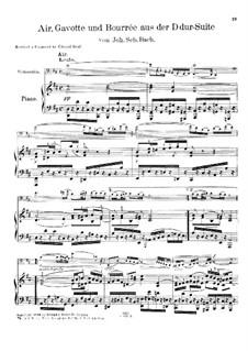 Aria, Gavotte and Bourrée: versão para violoncelo e piano by Johann Sebastian Bach