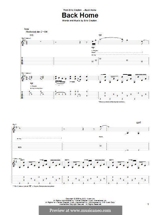 Back Home: Para guitarra com guia by Eric Clapton