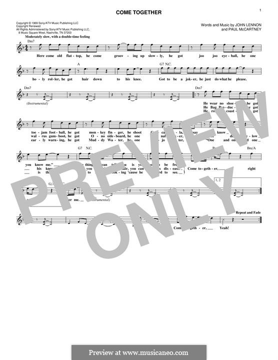 Come Together (The Beatles): Letras e Acordes by John Lennon, Paul McCartney