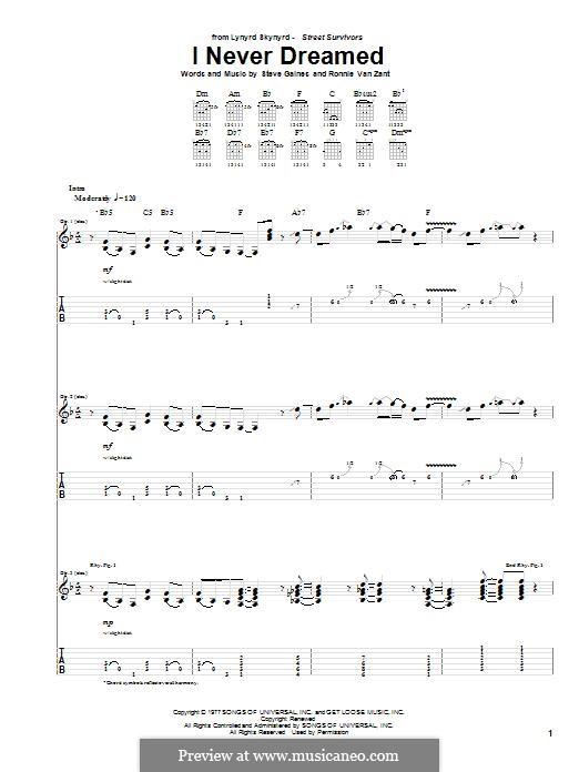 I Never Dreamed (Lynyrd Skynyrd): Para guitarra com guia by Ronnie Van Zant, Steve Earl Gaines