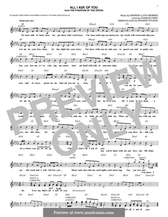 All I Ask of You: Letras e Acordes by Andrew Lloyd Webber