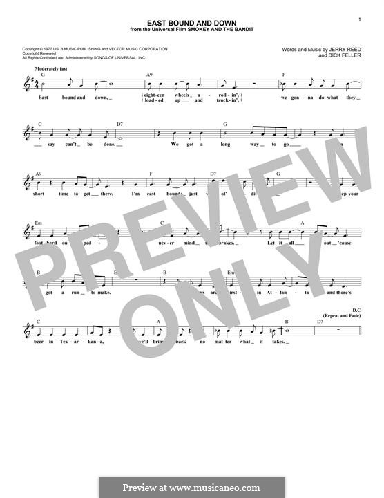 East Bound and Down (Jerry Reed): Letras e Acordes by Dick Feller