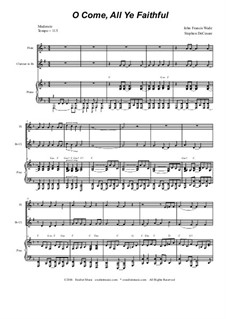 O Come All Ye Faithful: Duet for flute and Bb-clarinet by John Francis Wade