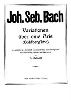 Goldberg Variations, BWV 988: arranjos para piano de quatro mãos by Johann Sebastian Bach
