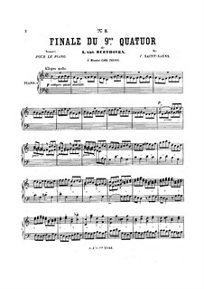 String Quartet No.9 in C Major, Op.59 No.3: Finale, for piano by Ludwig van Beethoven