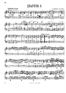 String Quartet No.9 in C Major, Op.59 No.3: Version for piano by L. Winkler by Ludwig van Beethoven
