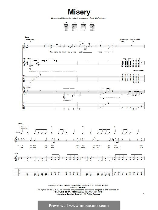 Misery (The Beatles): Para guitarra com guia by John Lennon, Paul McCartney