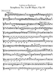 Symphony No.4, Op.60: parte clarinetas by Ludwig van Beethoven