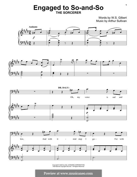 Engaged to So-and-So: Para Piano by Arthur Seymour Sullivan