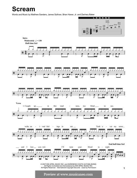 Scream (Avenged Sevenfold): Drum set by Brian Haner Jr., James Sullivan, Matthew Sanders, Zachary Baker