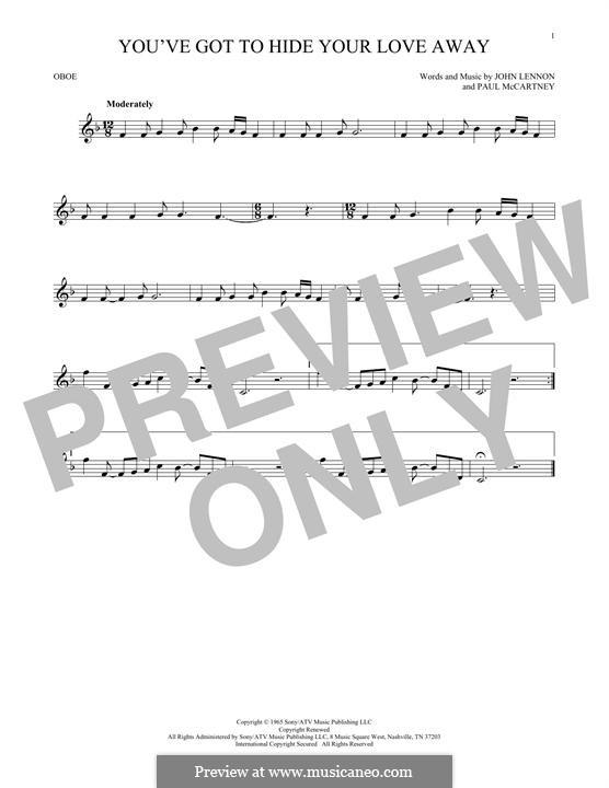 You've Got to Hide Your Love Away (The Beatles): For oboe by John Lennon, Paul McCartney