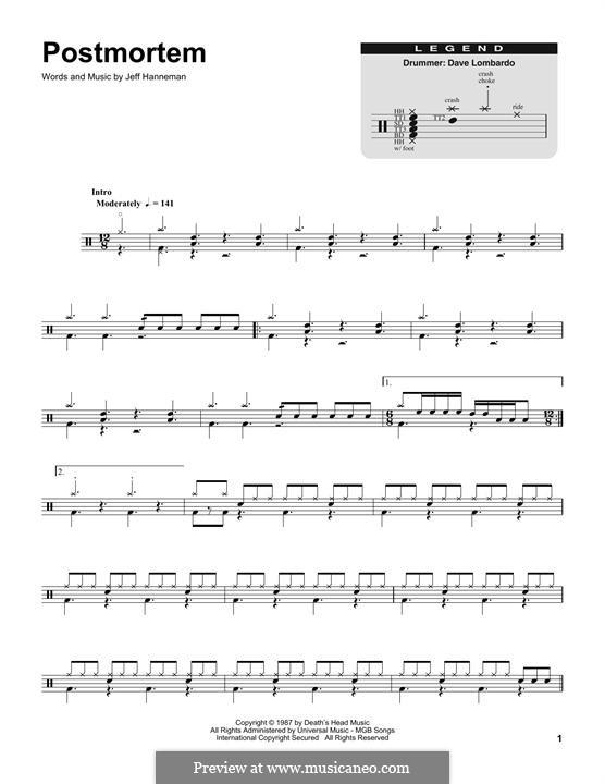 Postmortem (Slayer): Drum set by Jeffery Hanneman