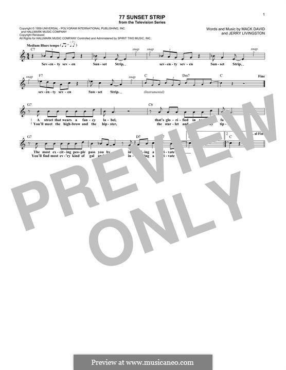 77 Sunset Strip: melodia by Jerry Livingston, Mack David