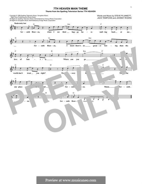 7th Heaven Main Theme (Steve Plunkett): melodia by Jack Tempchin, Johnny Rivers