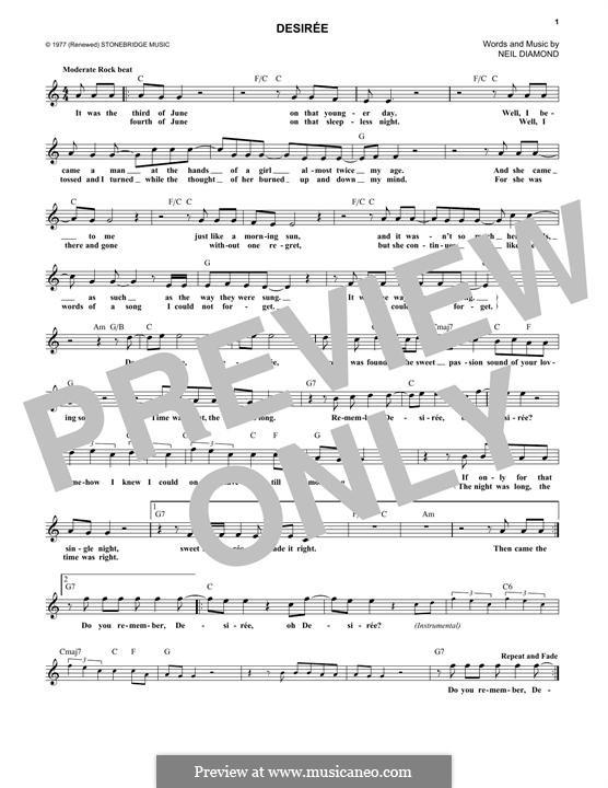 Desiree: melodia by Neil Diamond