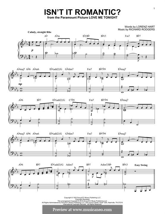 Isn't it Romantic?: Para Piano by Richard Rodgers