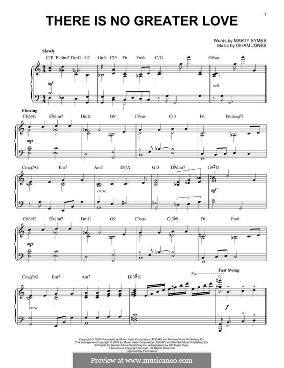 There Is No Greater Love: Para Piano by Marty Symes