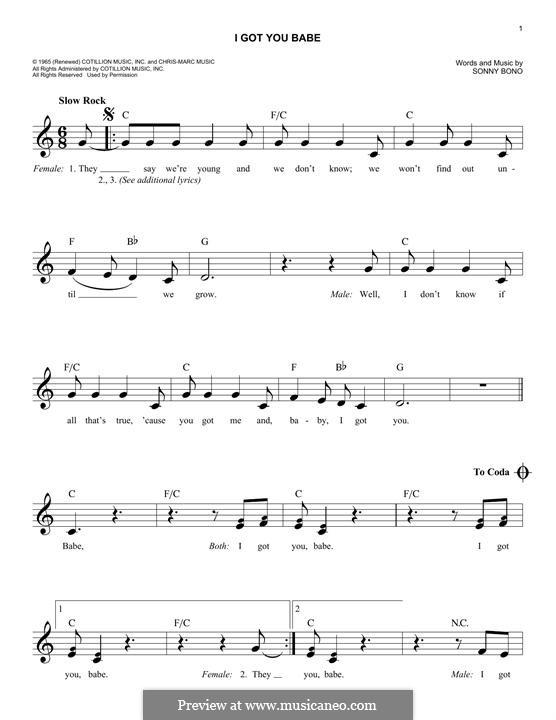 I Got You Babe (Sonny & Cher): melodia by Sonny Bono
