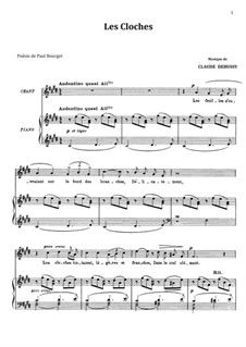 Two Romances, L.79: No.2 Les cloches, for voice and piano by Claude Debussy